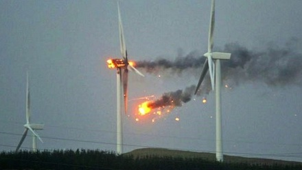 Turbine in flames