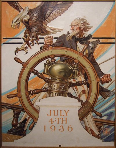 J. C. Leyendecker, Uncle Sam at the Helm, July Fourth, 1936