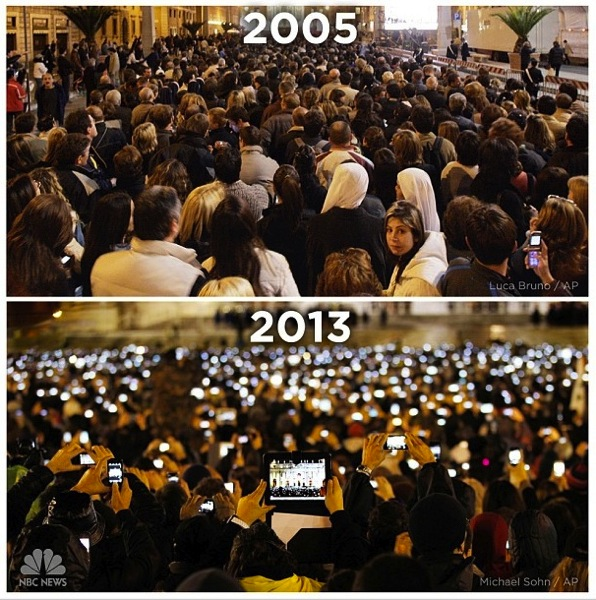 St Peter's Square 2005 and 2013. Proliferation of phone-cameras