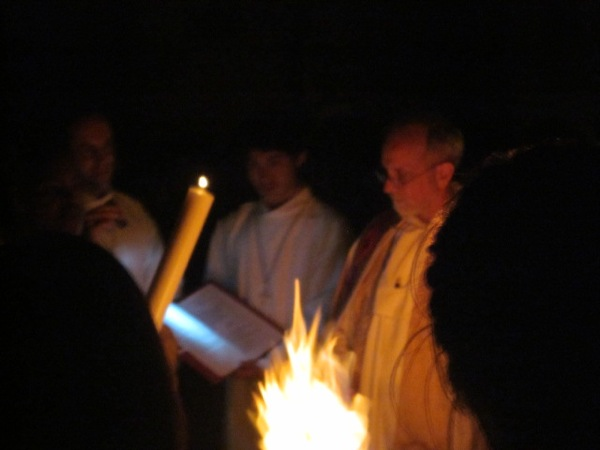 Easter Vigil, fire and Pascal candle, Fr Xavier