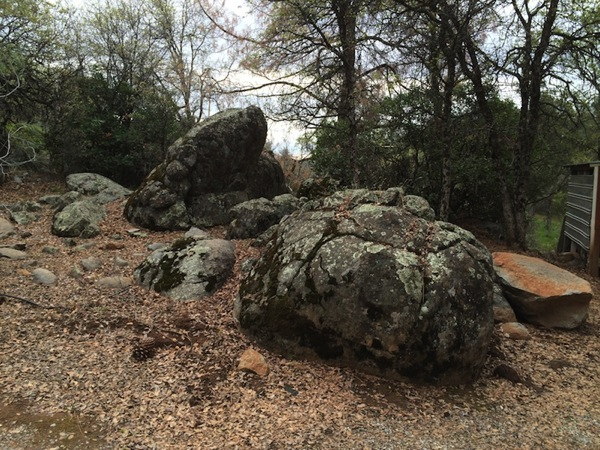 Rocks near tractor shed