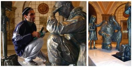 Statue of kneeling American soldier, by Iraqi artist Kalat