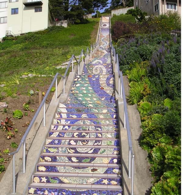 Mosaic-covered steps in SF