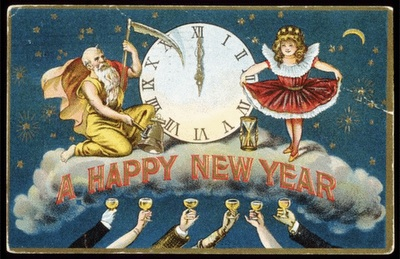 old Happy New Year card