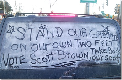 Scott Brown sign written in frost