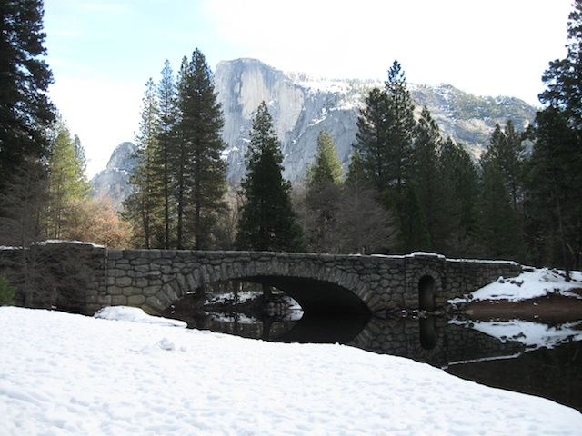 snowy bridge in Yosemite
