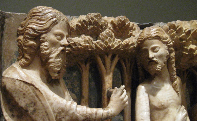 Medieval carving, God chastises Adam and Eve. At The Palace of the Legion of Honor, SF