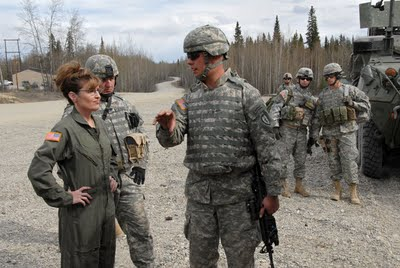 Governor Palin with Alaska National Guard troops