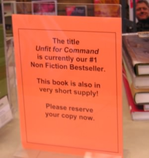 Sign: Unfit for Command in short supply