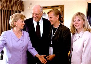 Vice president Cheney and his wife and daughters