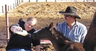 Betsy feeding a new colt