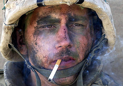 Weary Marine, smoking, Falluja