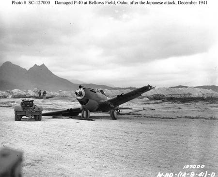 Damaged P40 after Pearl Harbor attack