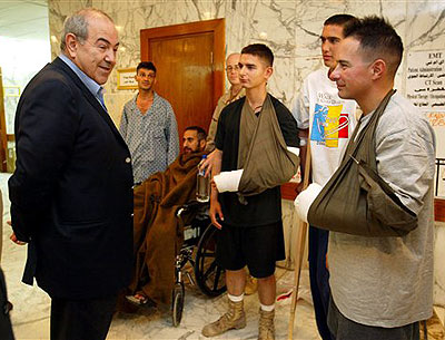 Prime Minister Allawi with wounded troops