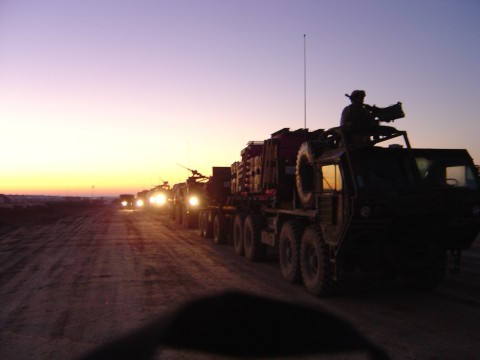 A sunrise convoy in Iraq