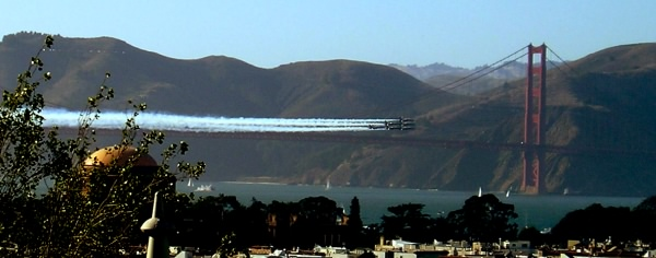 The Blue Angels against the Golden Gate Bridge
