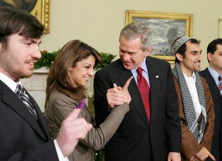 President bush meet with Iraqi voters