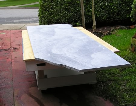 Stone slab on rolling table