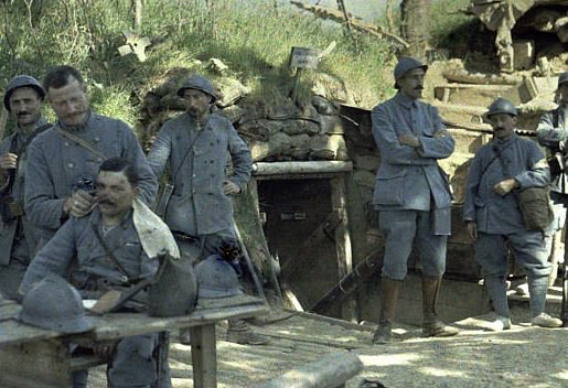 French Soldiers, WW1, early color photo
