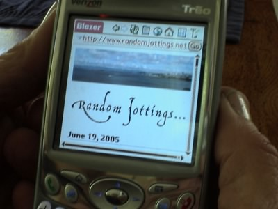 Charlene's Treo displaying Random Jottings