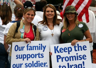Pro-American gals at the demonstration