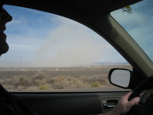 Dust-devil, driving on I-80