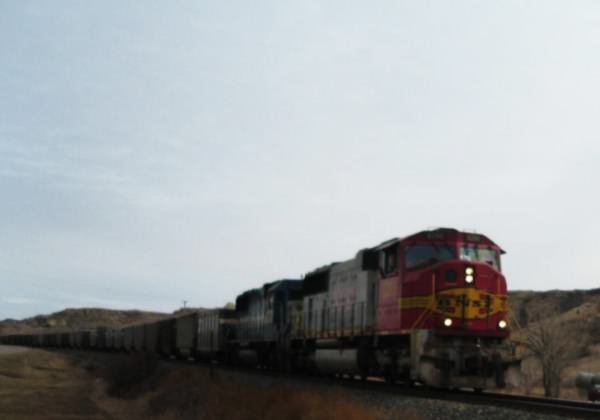 Freight train passing throgh Medora, ND