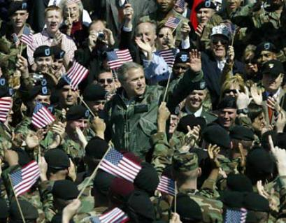 President Bush with soldiers