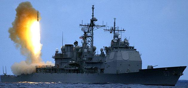 US Cruiser fires missile