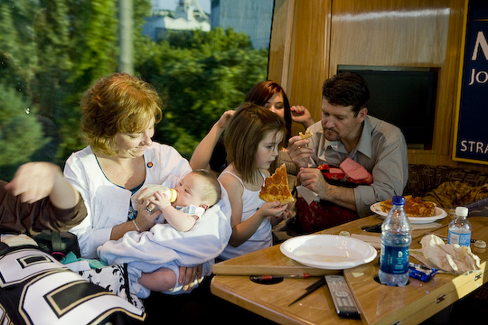 Todd, Piper, Willow, Trig on McCain/Palin bus