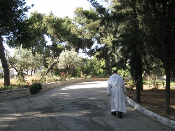 Fr. Francis in the gardens at the Ecole Biblique
